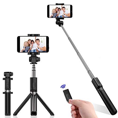 QUMOX Bluetooth Selfie Stick Telecomando a treppiede Estensibile Monopiede per iPhone 7 8 X Samsung