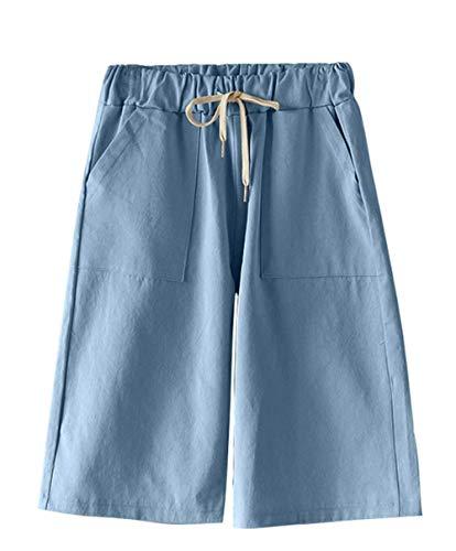 Vcansion Women's Bermuda Elastic Waist Loose Leisure Walking Shorts Light Blue US M/Asian 2XL