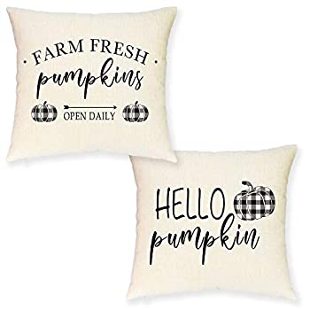 JYNHOOR Set of 2 Fall Pillow Covers 18x18 Inches –Rustic Farmhouse Buffalo Check Pumpkin Pillow Covers for Fall Decor-Autumn/Harvest/Fall Decorative Pillow Case