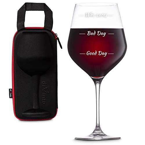 diVinto Copa de vino Gigante Who cares con Funda para llevar, Copa de vino regalo XXL 860 ml, Good Day Bad Day