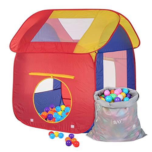 Schramm Carpa de Juego para niños Piscina de Bolas Pop Up con 200 Bolas y Bolsa de Transporte Carpa de Bolas para niños Carpa de Juego para Bolas