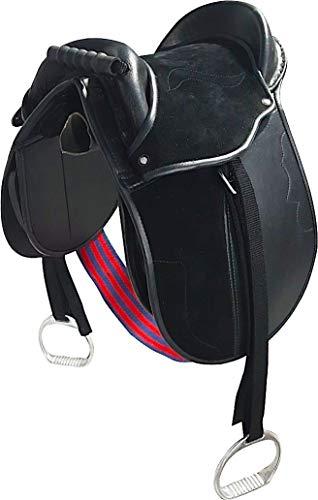 Cwell Equine Kinder Pony-Polster/Kindersattel mit Steigbügel, Gurt und Gurten, 30,5 cm, Schwarz