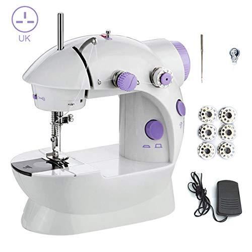Derclive - Máquina de coser portátil ajustable de 2 velocidades con pedales de pedal, para principiantes, hogar, enchufe de la UE UK Plug