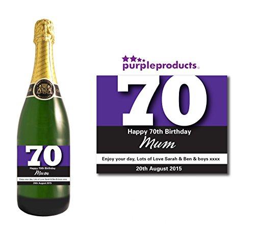 Gepersonaliseerde paarse 70e verjaardag champagne fles label cadeau voor vrouwen en mannen