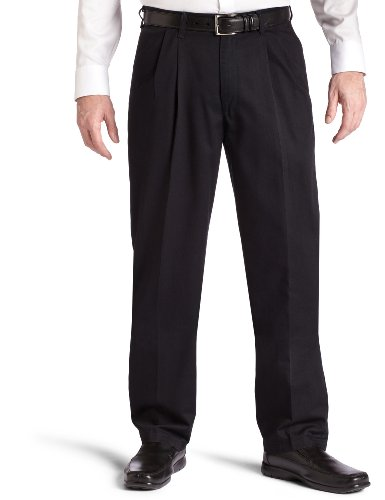 Lee Men's Big-Tall Stain Resistant Relaxed Fit Pleated Pant, Black, 54W x 30L
