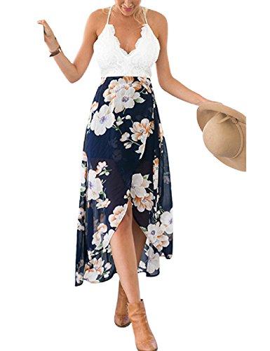 LRUD Mode Frauen Beiläufig Patchwork Spitze Blumen Gedruckt Unregelmäßige Halfter V-Ausschnitt Party Cocktailkleider, Marine Blume, S