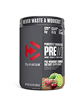 Dymatize PreW.O Pre Workout Powder with Caffeine Maximize Energy Strength & Endurance Amplify Intensity of Workouts Sweet Cherry Lime 400g