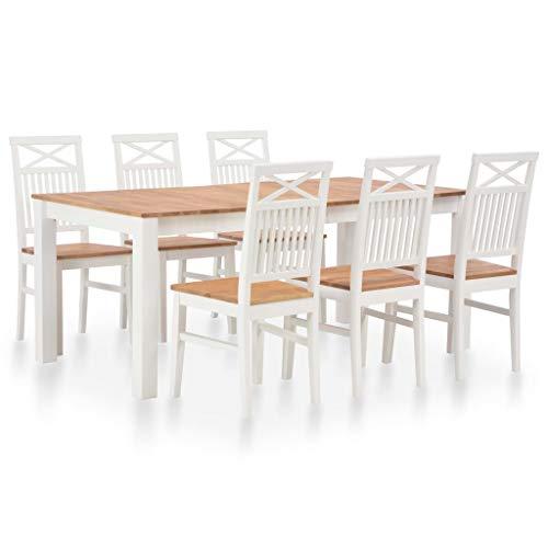 vidaXL Eichenholz Massiv Essgruppe 7-TLG. Esstischset Holztisch Küchentisch Esszimmertisch Sitzgruppe Esszimmergarnitur Esstisch mit 6 Stühlen