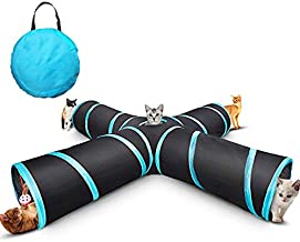MODEMODE 4 Way Cat Tunnel Collapsible Pet Play Tunnel Tube Toy with a Bell Toy & a Soft Ball Toy for Cat, Puppy, Kitty, Kitten, Rabbit