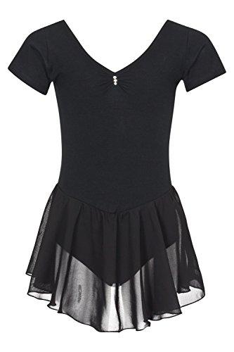 tanzmuster ® Ballettkleidung Ballettkleid Mädchen Kurzarm - Betty - extra weiche Baumwolle Glitzersteine Trikot fürs Kinder Ballett in schwarz, Größe:140/146