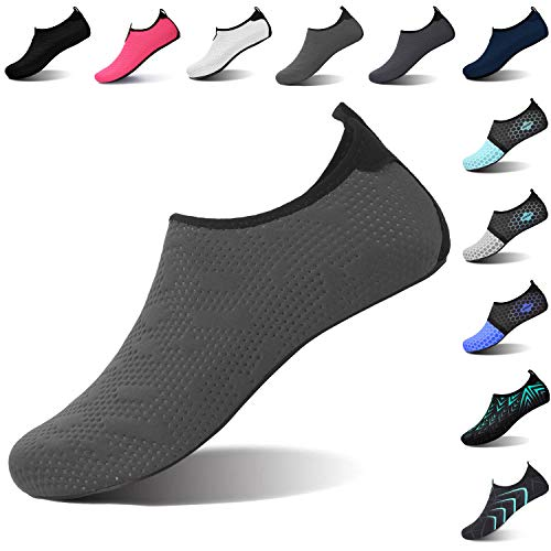 L-RUN Womens Mens Water Sports Shoes Slip-on Grey XL(W:10.5-11,M:8-9)=EU41-42