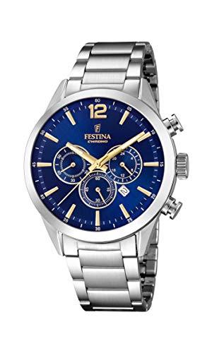 Festina Herren Chronograph Quarz Uhr mit Edelstahl Armband F20343/2
