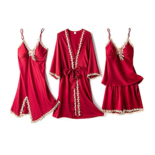 STJDM Camisón,Conjunto de Pijamas Florales de satén de Encaje de 5 Piezas para Mujer, Ropa de Dormir para el Pecho, Ropa de Dormir para Mujer XXL wineredset