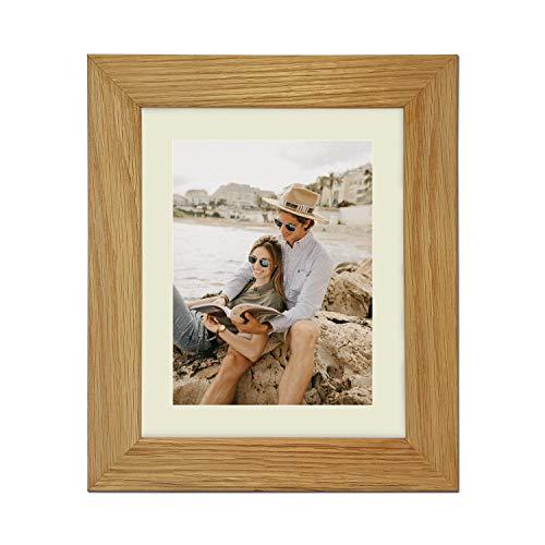 Echt eiken natuur massief houten fotolijst en posterlijst, (40,6 x 30,5 cm) voor (A4) met antiek witte passe-partout
