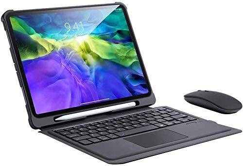 Funda con Teclado Táctil para iPad Pro 11 2020, Funda Desmontable con Teclado Bluetooth Inalámbrico, Soporte Ajustable con Portalápices, Soporte para Carga De Apple Pencil De Segunda Generación