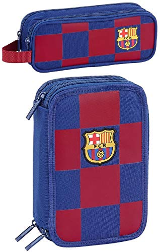rainbowFUN.de FC Barcelona - Estuche escolar con 3 compartimentos y estuche