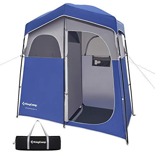 KingCamp Oversize 2 Persons Outdoor Easy Up Portable Dressing Changing Room Shower Privacy Shelter Tent, Blue/Grey