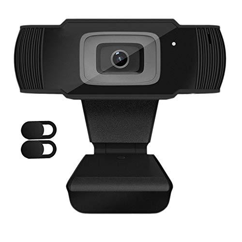QueenDer Webcam HD 1080P Cámara con Micrófono USB Plug and Play PC Computadora Portátil Webcam con Clip Giratorio para Videollamadas Grabación Conferencia