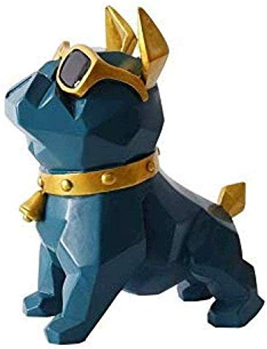 YsKYCA Statuetta,figurina Semplice artigianato moderno Bar Cafe Soggiorno Decorazioni Regalo di nozze Figurine Ornament Accessories Figure Home Office Craft Modern Bulldog Dog House Blue Sea Blue