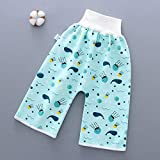 FinWell Comfy Cartoon Children Diaper Pants Waterproof Leak-Proof High Waist Belly-Protecting Diaper Trousers Soft and Breathable for Babies Kids