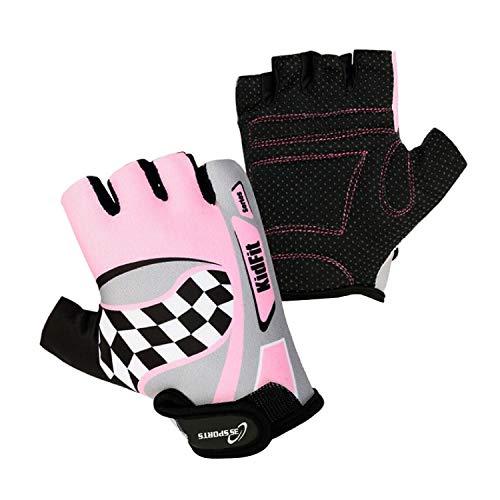 3S Sports Kinder-Fahrradhandschuhe für Jungen und Mädchen, gepolstert, für BMX, Pink / Grau, Größe XXXS