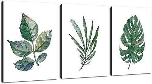 HD canvas canvas wall art groen blad eenvoudige canvas foto afdrukken hedendaagse canvas art foto woonkamer home decor (23.6x 39.4/60x100 cm) X3 frameloze