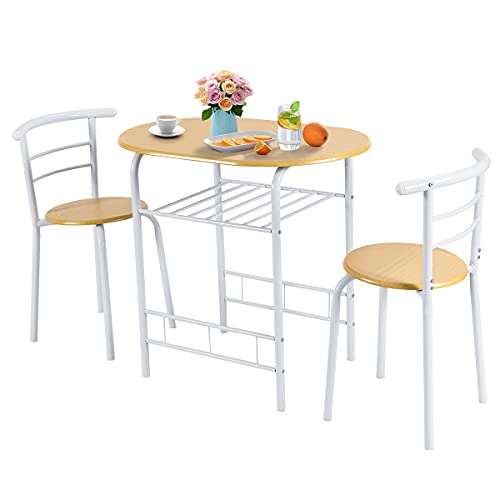 CASART Dining Table and Chairs, Compact 3 Piece Dining Set with Storage Shelf, Kitchen Breakfast Bar Set Bistro Table Chair for Small Space (White + Natural)
