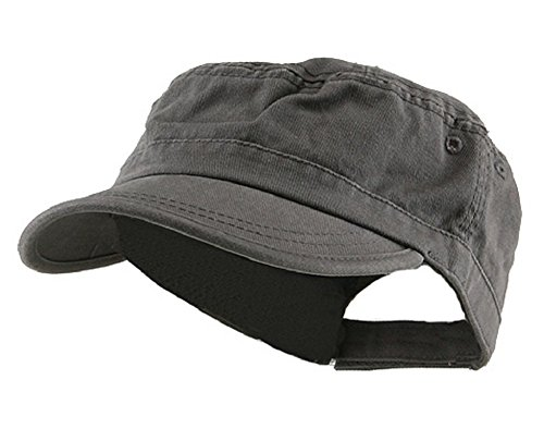 Wholesale Enzyme Washed Cotton Army Cadet Castro Hats (Grey) - 20770 One Size