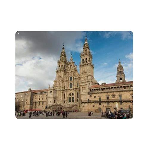 """Santiago De Compostela España Octubre Naturaleza Pintura Vintage Decoración para el hogar, Cartel de arte de pared 15.7 """"x11.8"""" Decoración de pared de café familiar, Pintura de arte retro Cartel de p"""