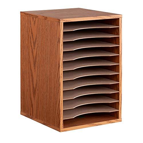 Safco Products Vertical Desktop Sorter, 11 Compartment 9419MO, Medium Oak, Letter-size Shelves, Durable Laminate Finish