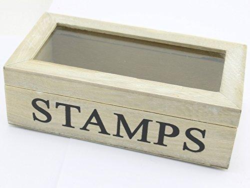 Gisela Graham Home Aufbewahrungs Briefmarken Natur Holz Box Glas Scharnierdeckel