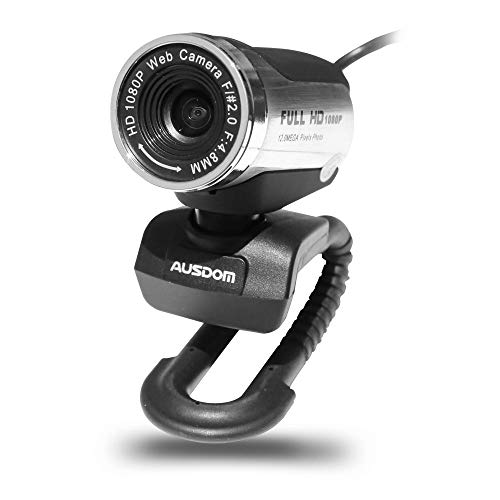 AUSDOM AW615 HD Webcam Camera 1920x1080P Quality Computer Camera with Built in Noise-Cancelling, USB High Definition Mini Laptop Camera, Online Video Personal Camera, Desktop Laptop PC Skype (Renewed)