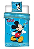 MICKEY Parure de lit Mouse 2 Pices pour Enfant - Housse de Couette + Taie 140x200 + 63x63 cm
