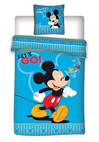 MICKEY Parure de lit Disney - Housse de Couette taie lit 1 Personne - 140 x 200 cm + 63 x 63 cm + 1 Maxi Coussin 3D 46CM