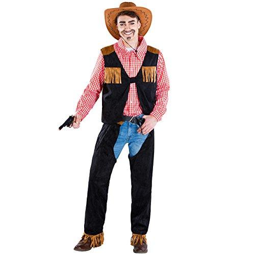 dressforfun Disfraz para Hombre Vaquero | Camisa Tradicional a Cuadros Rojos y Blancos | Chaleco + chaparreras en imitación de Cuero (XL | no. 300567)