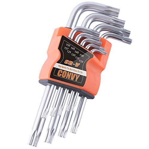 Convy GJ-0046 Arm Star Key Wrench Set, Hollow End Star Key Set T10-T50, Set of 9-Piece, Standard