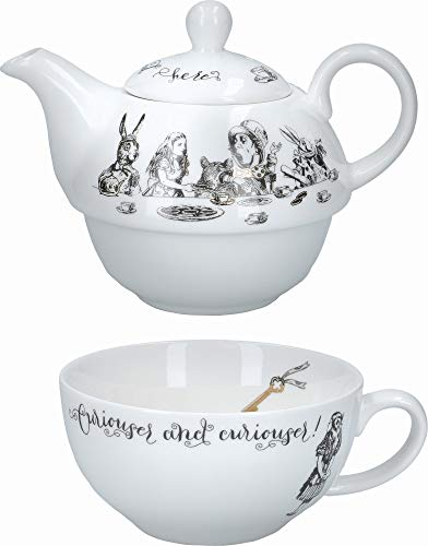 V&A VAAWT41 Alice in Wonderland Thee voor een theepot en bekerset in geschenkdoos, fijn China