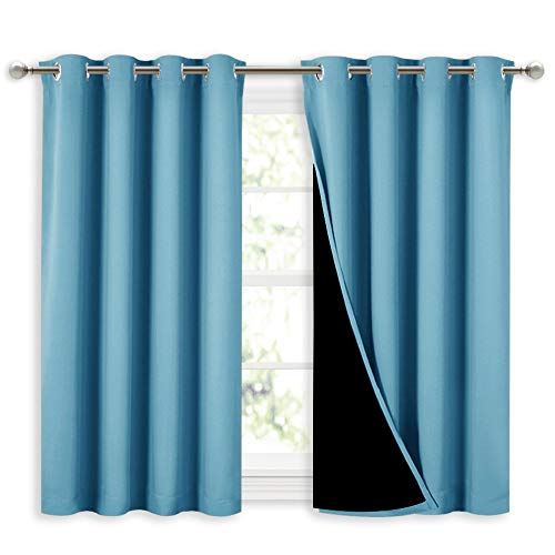 NICETOWN 100% Blackout Short Curtains with Black Liners, Thermal Insulated Full Blackout Lined Drapes, Energy Efficiency Window Draperies for Boy's Room (Teal Blue, 2 Panels, 52-inch W by 45-inch L)