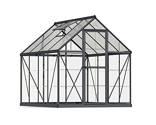 Palram HG5008Y Mythos Hobby Greenhouse, 6' x 8' x 7', Gray