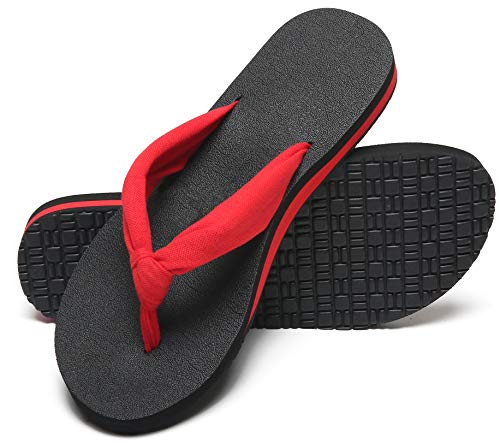 Maiitrip Womens Flip Flops Casual Red Ladies Thong Yoga Mat Sandals Comfort Fashion Yoga Mat Footbed flipflops With Soft Cushion Arch Support Fabric Strap Size 8