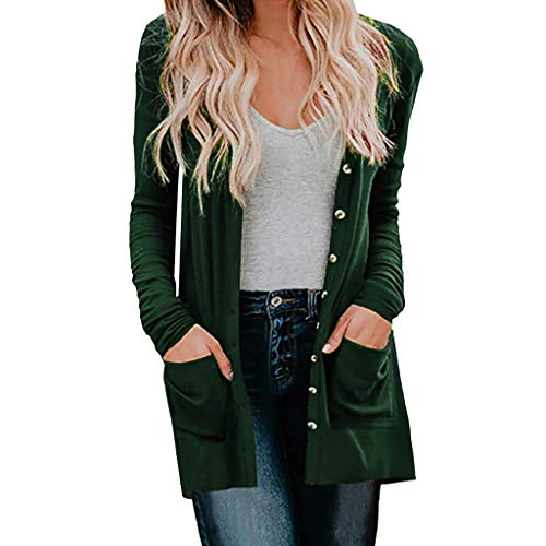 Lowest Prices! Xinantime Womens Casual Elegant Tunic Blouse Ladies Cardigan Solid Long Sleeve Pocket...