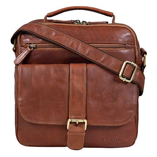 STILORD 'Ricardo' Bolso Bandolera Hombre Piel Vintage Messenger Bag Mediano con Asa Bolso Tablet 10.1 Pulgadas Bolso de Hombre Cuero Auténtico, Color:Cognac-marrón
