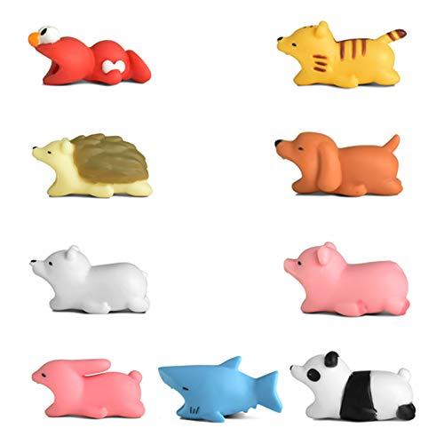 Newseego Protector de Cable Cargador de Ahorro Chewers de Cable Cute Animal Bite Protecciones para Cables - Paquete de 9 (Sesame Street, Erizo, Panda, Cerdo, Oso Polar, Tigre, Tiburón, Perro, Conejo)