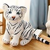 MKZHANG Tigre amarillo blanco juguetes rellenos bebé encantador gran tamaño tigre felpa muñeca suave almohada niños regalo de Navidad-33cm, blanco