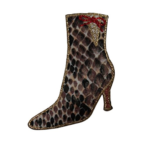 ID 7920 Leopard Print Boot Patch High Heel Fashion Embroidered Iron On Applique