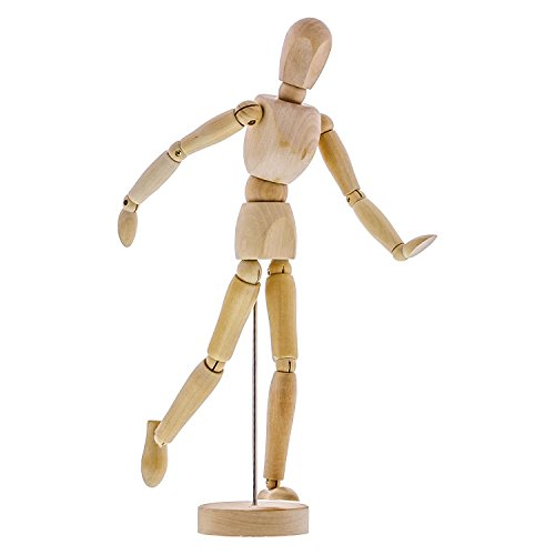 "US Art Supply Wood 12"" Artist Drawing Manikin Articulated Mannequin with Base and Flexible Body - Perfect for Drawing The Human Figure (12"