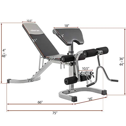 Merax Weight Bench with Leg Extension - 6+3 Positions Adjustable Olympic Utility Benches with Preacher Curl 2020 Upgrade Design