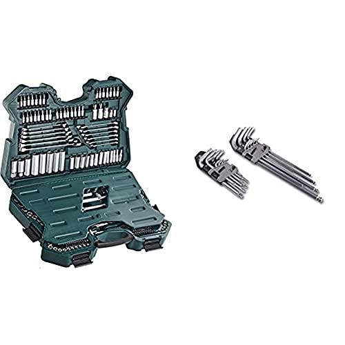 Brüder Mannesmann WerkzeugeMannesmann M98430 - Custodia con chiavi a bussola e altri strumenti & Mannesmann M18170 - Set chiavi esagonali, TX e a testina rotante