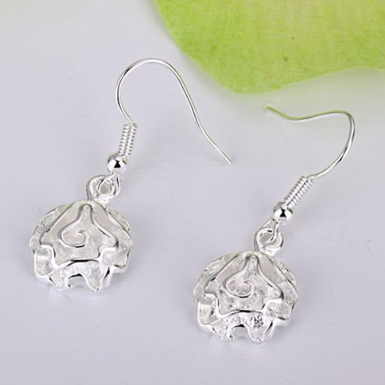 KDesign 925 Sterling Silver Single pink Flower Hoops Drop Hooks Studs Earrings E066