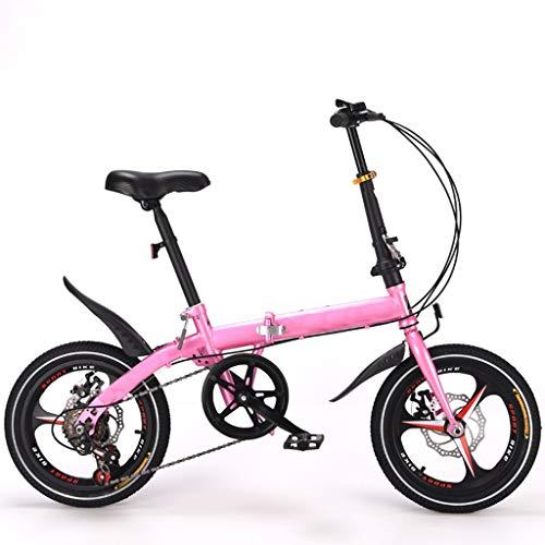 Bike Plegable For Bicicleta 16 Pulgadas 6 De Velocidad, Bicicleta De Carretera De Doble Freno De Disco De Bicicletas Con Suspensión De Choque for Adultos Commuters Estudiante Hombres Y Las Mujeres